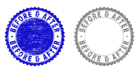 Grunge BEFORE & AFTER stamp seals isolated on a white background. Rosette seals with grunge texture in blue and grey colors. Vector rubber imprint of BEFORE & AFTER label inside round rosette.