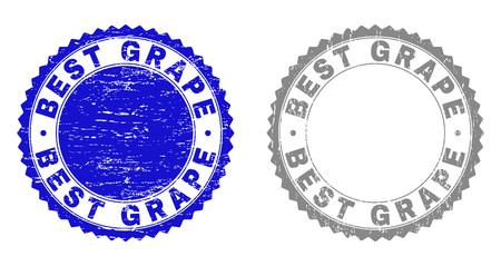 Grunge BEST GRAPE stamp seals isolated on a white background. Rosette seals with distress texture in blue and grey colors. Vector rubber imprint of BEST GRAPE text inside round rosette.