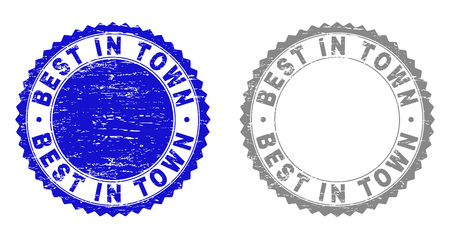 Grunge BEST IN TOWN stamp seals isolated on a white background. Rosette seals with grunge texture in blue and grey colors. Vector rubber watermark of BEST IN TOWN tag inside round rosette.