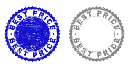 Grunge BEST PRICE stamp seals isolated on a white background. Rosette seals with grunge texture in blue and grey colors. Vector rubber imitation of BEST PRICE caption inside round rosette.