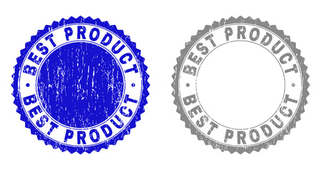 Grunge BEST PRODUCT stamp seals isolated on a white background. Rosette seals with grunge texture in blue and grey colors. Vector rubber imprint of BEST PRODUCT label inside round rosette.
