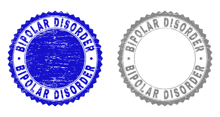 Grunge BIPOLAR DISORDER stamp seals isolated on a white background. Rosette seals with grunge texture in blue and grey colors. Vector rubber overlay of BIPOLAR DISORDER title inside round rosette.