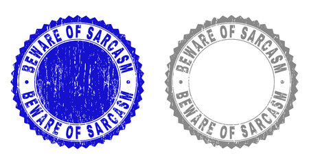Grunge BEWARE OF SARCASM stamp seals isolated on a white background. Rosette seals with grunge texture in blue and grey colors. Vector rubber imprint of BEWARE OF SARCASM title inside round rosette.