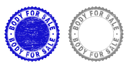 Grunge BODY FOR SALE stamp seals isolated on a white background. Rosette seals with grunge texture in blue and gray colors. Vector rubber imprint of BODY FOR SALE caption inside round rosette. Ilustração
