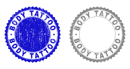 Grunge BODY TATTOO stamp seals isolated on a white background. Rosette seals with grunge texture in blue and gray colors. Vector rubber imitation of BODY TATTOO caption inside round rosette.