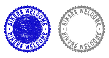 Grunge BIKERS WELCOME stamp seals isolated on a white background. Rosette seals with grunge texture in blue and gray colors. Vector rubber imprint of BIKERS WELCOME tag inside round rosette.
