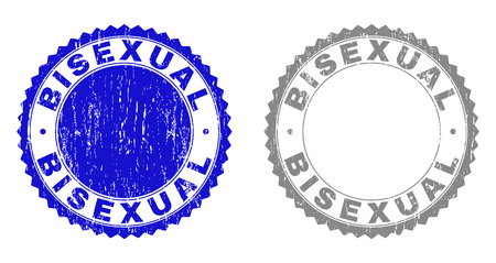 Grunge BISEXUAL stamps isolated on a white background. Rosette seals with grunge texture in blue and grey colors. Vector rubber overlay of BISEXUAL caption inside round rosette.