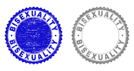 Grunge BISEXUALITY stamp seals isolated on a white background. Rosette seals with grunge texture in blue and grey colors. Vector rubber imprint of BISEXUALITY tag inside round rosette.