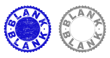 Grunge BLANK stamp seals isolated on a white background. Rosette seals with grunge texture in blue and grey colors. Vector rubber watermark of BLANK text inside round rosette.