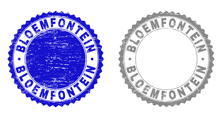 Grunge BLOEMFONTEIN stamp seals isolated on a white background. Rosette seals with distress texture in blue and grey colors. Vector rubber watermark of BLOEMFONTEIN tag inside round rosette.
