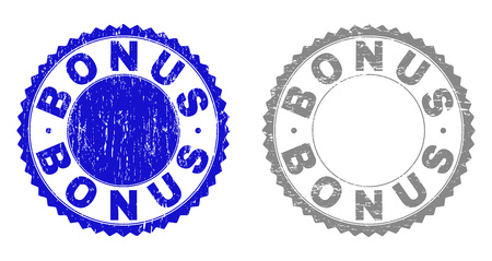 Grunge BONUS stamp seals isolated on a white background. Rosette seals with grunge texture in blue and grey colors. Vector rubber watermark of BONUS tag inside round rosette.