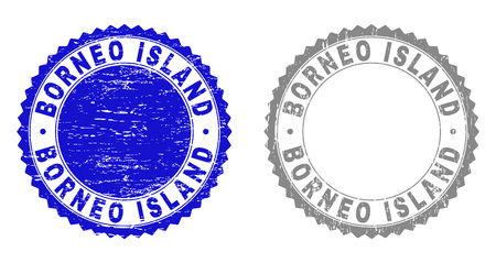 Grunge BORNEO ISLAND stamp seals isolated on a white background. Rosette seals with grunge texture in blue and gray colors. Vector rubber imprint of BORNEO ISLAND text inside round rosette. Ilustração