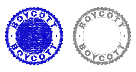 Grunge BOYCOTT stamp seals isolated on a white background. Rosette seals with grunge texture in blue and gray colors. Vector rubber overlay of BOYCOTT text inside round rosette.