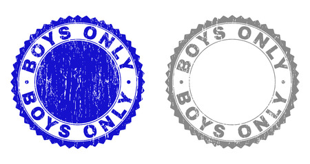 Grunge BOYS ONLY stamp seals isolated on a white background. Rosette seals with distress texture in blue and gray colors. Vector rubber imitation of BOYS ONLY tag inside round rosette.