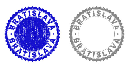 Grunge BRATISLAVA stamp seals isolated on a white background. Rosette seals with grunge texture in blue and grey colors. Vector rubber watermark of BRATISLAVA tag inside round rosette.