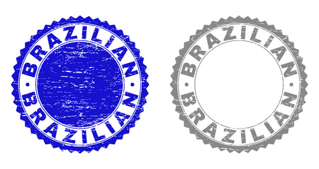 Grunge BRAZILIAN stamps isolated on a white background. Rosette seals with grunge texture in blue and grey colors. Vector rubber imitation of BRAZILIAN label inside round rosette. Illustration