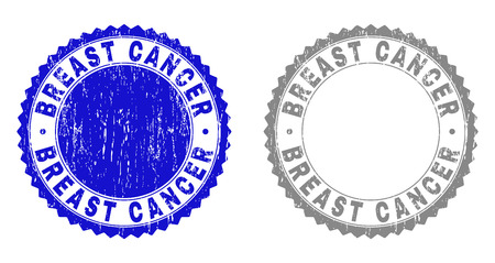 Grunge BREAST CANCER stamp seals isolated on a white background. Rosette seals with grunge texture in blue and grey colors. Vector rubber overlay of BREAST CANCER title inside round rosette. Stock Illustratie