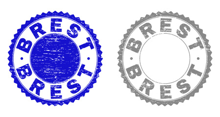 Grunge BREST stamp seals isolated on a white background. Rosette seals with grunge texture in blue and grey colors. Vector rubber overlay of BREST label inside round rosette. Illustration