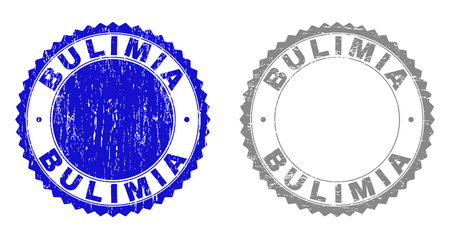 Grunge BULIMIA stamp seals isolated on a white background. Rosette seals with grunge texture in blue and grey colors. Vector rubber imitation of BULIMIA label inside round rosette. Illustration
