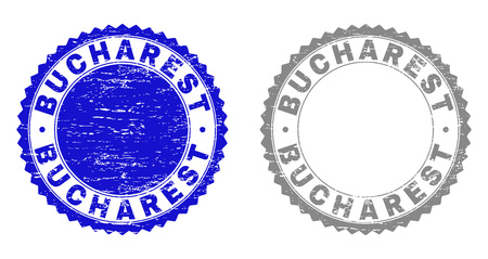 Grunge BUCHAREST stamp seals isolated on a white background. Rosette seals with grunge texture in blue and gray colors. Vector rubber imprint of BUCHAREST caption inside round rosette.
