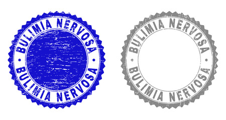 Grunge BULIMIA NERVOSA stamp seals isolated on a white background. Rosette seals with grunge texture in blue and grey colors. Vector rubber imitation of BULIMIA NERVOSA tag inside round rosette.