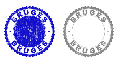 Grunge BRUGES stamp seals isolated on a white background. Rosette seals with distress texture in blue and gray colors. Vector rubber imitation of BRUGES title inside round rosette.