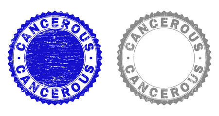 Grunge CANCEROUS stamp seals isolated on a white background. Rosette seals with grunge texture in blue and grey colors. Vector rubber overlay of CANCEROUS label inside round rosette.