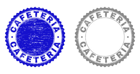 Grunge CAFETERIA stamp seals isolated on a white background. Rosette seals with grunge texture in blue and grey colors. Vector rubber imitation of CAFETERIA text inside round rosette.