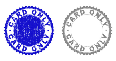 Grunge CARD ONLY stamp seals isolated on a white background. Rosette seals with grunge texture in blue and gray colors. Vector rubber imitation of CARD ONLY label inside round rosette.