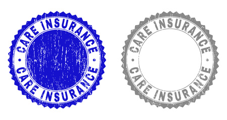 Grunge CARE INSURANCE stamp seals isolated on a white background. Rosette seals with grunge texture in blue and gray colors. Vector rubber imprint of CARE INSURANCE tag inside round rosette.