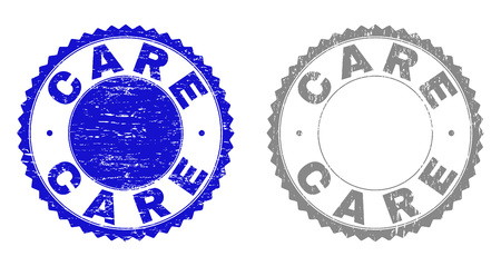 Grunge CARE stamp seals isolated on a white background. Rosette seals with grunge texture in blue and grey colors. Vector rubber watermark of CARE tag inside round rosette.