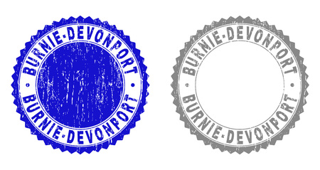 Grunge BURNIE-DEVONPORT stamp seals isolated on a white background. Rosette seals with grunge texture in blue and gray colors. Vector rubber imitation of BURNIE-DEVONPORT caption inside round rosette.