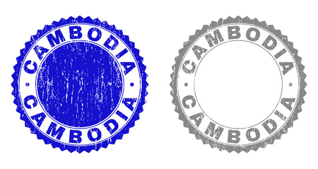 Grunge CAMBODIA stamp seals isolated on a white background. Rosette seals with grunge texture in blue and grey colors. Vector rubber watermark of CAMBODIA caption inside round rosette. Ilustração
