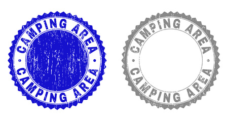 Grunge CAMPING AREA stamp seals isolated on a white background. Rosette seals with grunge texture in blue and grey colors. Vector rubber overlay of CAMPING AREA title inside round rosette.