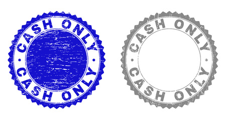 Grunge CASH ONLY stamp seals isolated on a white background. Rosette seals with grunge texture in blue and grey colors. Vector rubber watermark of CASH ONLY caption inside round rosette.
