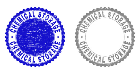 Grunge CHEMICAL STORAGE stamp seals isolated on a white background. Rosette seals with grunge texture in blue and grey colors. Vector rubber watermark of CHEMICAL STORAGE label inside round rosette.