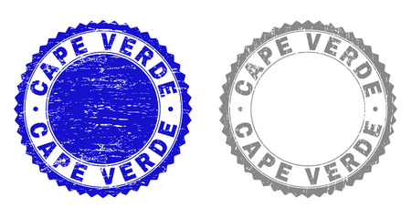 Grunge CAPE VERDE stamp seals isolated on a white background. Rosette seals with grunge texture in blue and grey colors. Vector rubber imprint of CAPE VERDE text inside round rosette.