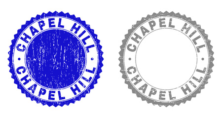 Grunge CHAPEL HILL stamp seals isolated on a white background. Rosette seals with grunge texture in blue and gray colors. Vector rubber overlay of CHAPEL HILL tag inside round rosette.