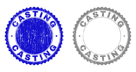 Grunge CASTING stamp seals isolated on a white background. Rosette seals with grunge texture in blue and grey colors. Vector rubber watermark of CASTING tag inside round rosette.