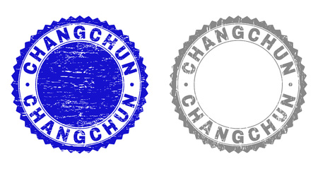 Grunge CHANGCHUN stamp seals isolated on a white background. Rosette seals with distress texture in blue and grey colors. Vector rubber imitation of CHANGCHUN title inside round rosette.