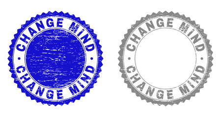 Grunge CHANGE MIND stamp seals isolated on a white background. Rosette seals with grunge texture in blue and grey colors. Vector rubber imitation of CHANGE MIND text inside round rosette.