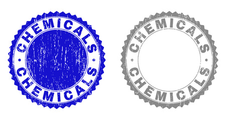Grunge CHEMICALS stamp seals isolated on a white background. Rosette seals with grunge texture in blue and grey colors. Vector rubber watermark of CHEMICALS title inside round rosette.