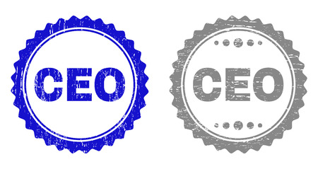 Grunge CEO stamp seals isolated on a white background. Rosette seals with grunge texture in blue and gray colors. Vector rubber watermark of CEO label inside round rosette.
