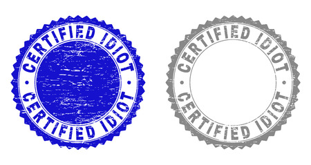 Grunge CERTIFIED IDIOT stamp seals isolated on a white background. Rosette seals with distress texture in blue and grey colors. Vector rubber watermark of CERTIFIED IDIOT label inside round rosette. Ilustração