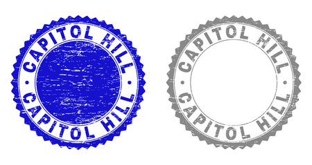 Grunge CAPITOL HILL stamp seals isolated on a white background. Rosette seals with grunge texture in blue and gray colors. Vector rubber imitation of CAPITOL HILL caption inside round rosette.
