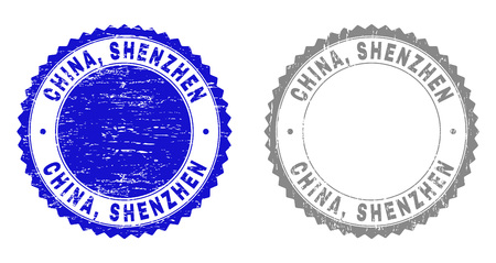 Grunge CHINA, SHENZHEN stamp seals isolated on a white background. Rosette seals with grunge texture in blue and grey colors. Vector rubber imprint of CHINA, SHENZHEN title inside round rosette. 일러스트