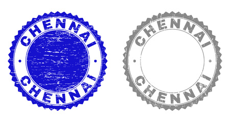 Grunge CHENNAI stamp seals isolated on a white background. Rosette seals with grunge texture in blue and grey colors. Vector rubber overlay of CHENNAI text inside round rosette.