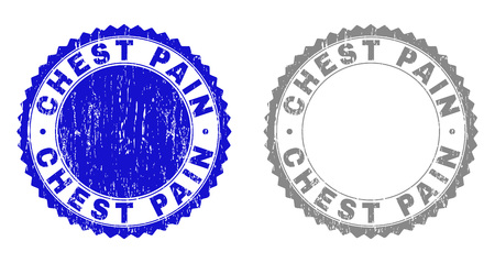 Grunge CHEST PAIN stamp seals isolated on a white background. Rosette seals with grunge texture in blue and gray colors. Vector rubber imitation of CHEST PAIN title inside round rosette. Illustration