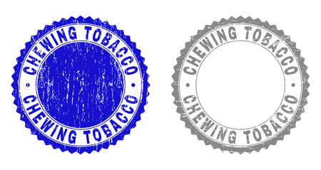 Grunge CHEWING TOBACCO stamp seals isolated on a white background. Rosette seals with grunge texture in blue and grey colors. Vector rubber imprint of CHEWING TOBACCO tag inside round rosette.