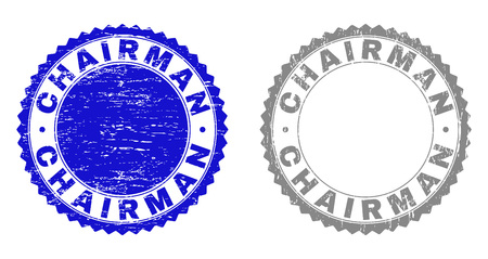 Grunge CHAIRMAN stamp seals isolated on a white background. Rosette seals with grunge texture in blue and grey colors. Vector rubber imprint of CHAIRMAN tag inside round rosette.